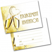 *NEW* Pack of 20 Engagement Heart Champagne Invitations Invites with Envelopes