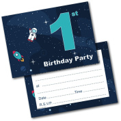 *NEW* Pack of 20 1st Birthday Party Invitations Boy Invites with Envelopes