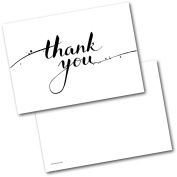 *NEW* Pack of 20 Thank You Cards Thankyou Black & White Postcards Cards with Envelopes