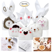 Dproptel Creative Rabbit Ear Shaped Party Bunny Bags Wedding Candy Bags Gift Wrap Bags Treat Bags Baking Bags for Party Favours Supplies with 100PCS Twist Ties