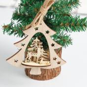 Christmas Hanging Decoration,Sansee Snowflake Wood Embellishments Rustic Christmas Tree /Snowman/Elk/StarsHanging Ornament Decor