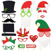 Meetory 20 Pcs Christmas Photo Booth Props,Funny DIY Favour Props,Santa Hat Masks Moustache Lip Hat Antler for Christmas Party