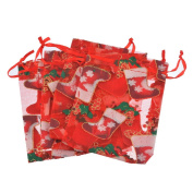 JuneJour 10Pcs Christmas Organza Gift Bags Xmas Stocking Candy Storage Pouches Wrap Party Favours Wedding Party Presents with Drawstring