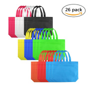 Unicoco Blank Canvas Party Gift Tote Bags Rainbow Colours with Handles for Birthday Favours/Snacks/Decoration/Arts Crafts/Event Supplies 26 PCS