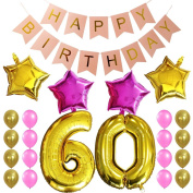 KUNGYO Sweet 60Th Birthday Party Decorations Kit-Pink Happy Brithday Banner,Number 60 Golden Mylar Foil Balloon,16PCS Gold Pink Latex Balloon,4 PCS Star Balloon,Perfect 60 Years Old Birthday Party Supplies