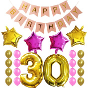 KUNGYO Sweet 30Th Birthday Party Decorations Kit-Pink Happy Brithday Banner,Number 30 Golden Mylar Foil Balloon,16PCS Gold Pink Latex Balloon,4 PCS Star Balloon,Perfect 30 Years Old Birthday Party Supplies