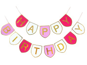 Happy Birthday Decorations Banner Bunting Pink N Hot Pink