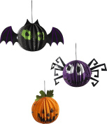 Smiffy's 48288 Hanging Halloween Paper Decorations, Multi-Colour, One Size, Set of 3