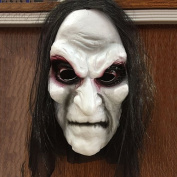 Gemini_mall® 3D Black Long Hair Scary Blooding Ghost Mask Halloween Costumes Cosplay Party Prop