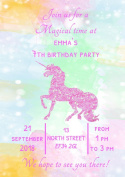 10 Personalised Pink Unicorn Watercolour Birthday Party Invitations Invites & Envelopes