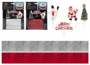 Pack Of Festive Cake Decorations With Cake Toppers And Decorative Ribbon - Decorate Christmas Cakes - Assorted Designs