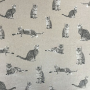 "Classic Animals Cats Design Cotton Rich Linen Look Fabric For Curtains Blinds Craft Quilting Patchwork & Upholstery 55"" 140cm Wide – Sold by the Metre"