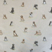 "Shabby Animals Dogs Design Cotton Rich Linen Look Fabric For Curtains Blinds Craft Quilting Patchwork & Upholstery 55"" 140cm Wide – Sold by the Metre"
