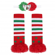 YiZYiF Unisex Babies Christmas Theme Tutu Ruffled Holiday Picture Winter Leg Warmers with Flower Headband set