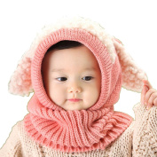 Gemini_mall® Winter Beanie Baby Girls Boys Hat Hooded Scarf Earflap Knitted Wool Cap