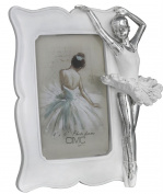 Shiny Silver And White 10cm X 15cm Ballerina Photo Frame