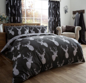 EDS Christmas Winter Stag King Black Duvet Set Polycotton, 50% Cotton and 50% polyester , Stag Printed Soft and Warm