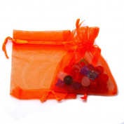 10 Staples Organza Bag Gift Wrap Orange 7 X 9 cm