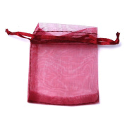 10 Staples Organza Bag Gift Wrap Colour Burdeo 7 x 9 cm