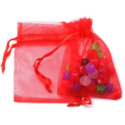 10 Staples Organza Bag Gift Wrap Red 7 X 9 cm