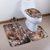 White Rice Toilet Three-piece Home Decoration Absorbent Non-slip Bathroom Mats