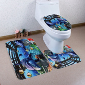 Dolphin Fish Bathroom Three-piece Home Decoration Water Non-slip Bathroom Mats
