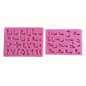LYNCH 3D Silicone Fondant Arabic Alphabet Number Cake Silicone Fondant Mould,Pink