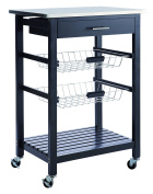 Demeyere Cookies Kitchen Trolley Inox Top, Wood, Black