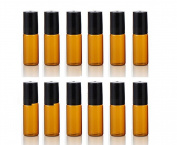 12Pcs 3ML Refillable Amber Glass Roller Bottles with Balls and Black Caps for Essential Oil Empty Aromatherapy Perfume Bottles