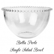 Bella Perle Glass Salad Bowl With Beaded Edge As Used By Celebridy Chef Nigella Lawson. - Perfect For Alfresco Dining, Barbecues, Garden Parties, Entertaining for All Seasons and Occasions - H 11 x D 20 cm