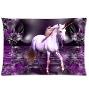 Pretty White Unicorn in Fantasy Purple Crystal World Custom Queen Size Pillowcase DIY Pillowslips Roomy in Size 20 * 80cm