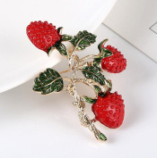 Cdet 1X Brooch Women Corsage Strawberry Diamond Wedding Bridal Pin Dress Brooch Scarves Shawl Clip Bag Ornament Christmas Gift