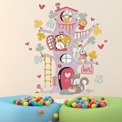 """Walplus Wall Stickers """"Squirrel Tree House """" Removable Self-Adhesive Art Decal Murals Nursery Restaurant Cafe Hotel Building Office Home Decoration"""