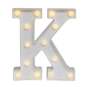 GB UNICORN Wall Letters Light At Symbol Battery Marquee Letter Lights Alphabet Light Up Sign for Wedding Home Party Bar Decoration(White K)