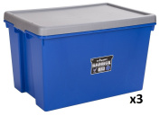 Pack of 3 Virtually Indestructible Large (62L) Ultra Heavy Duty Plastic Storage Boxes with Lids - Blue / Silver