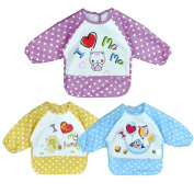 Baby Bibs with Sleeves, Waterproof 3 Pack Unisex Baby Cloths Waterproof Long Sleeved Bibs for 6-month Infants to 3-year-old Toddlers Boys Girls