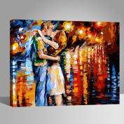 Vintage Oil Painting with Brushes DIY Paint by Numbers Kits Romantic Kissing Couple 41cm x 50cm Wooden Frame Rihe