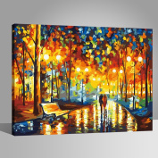 Canvas Print with Wooden frame DIY Paint by Numbers Kits Oil Print Tree Path 41cm x 50cm Wooden Frame Rihe