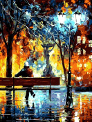 Vintage Oil Painting with Brushes DIY Paint by Numbers Kits Lonely Man under Streetlight 41cm x 50cm Wooden Frame Rihe