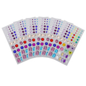 Juanya Self-adhesive Rhinestone Sticker Multicolor Bling Craft Jewels Crystal Gem Stickers, Assorted Size, 6 Sheets