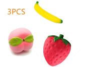 URGrace 3Pcs Soft Squishy Slow Rising Banana & Strawberry & Peach Simulation Fruit PU Material Children Funny Toys Stress Relief Toy Novelty Toys Christmas Gift