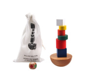 Montessori Toy Wooden tower for stacking & balancing blocks in colour / nature from . for the early dexterity development of your child