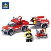 YouMiYa KAZI 143pcs Firefighting Cew Building Blocks Educational Toys DIY Bricks Fire Assembled Toy Fire Truck Toys for Children