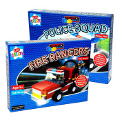 2 x Kids Create®Create & Build Building Brick Set - Fire Rangers 134 Piece Fire Truck & Police Squad 106 Piece Police SUV Contruction Brick Build Toys for Children Aged 5+ Years