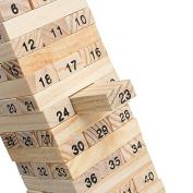 Enshey Wooden Tumbling Tower Stacking Block Game Children Kids Party Family Challenge Balance Game - 54 Blocks 4 Dices