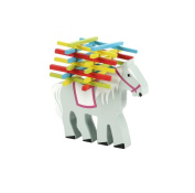 Natureich horse / elephant Montessori wooden stack toys to enhance learning skills with colourful chopsticks / nature from . on for the early motoric skills development & training your child's