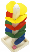 Montessori material ball track tower for stacking & sticking colourful wooden leaves from . onwards for the motor development of your child