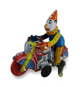 Clown On a Motorcycle Vintage Style Mechanical Tin Wind-Up Toy
