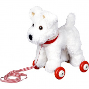 Plush Little Dog Terrier Carlos on Wooden Wheels (27 cm approx. ) Lustige Tierparade