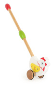 Small Foot 10639 Painted Wooden Toy in The Shape of A Chicken, Rubber Tyres Ensure Silent Play, Moving Wings, Trains The Walking Coordination, Handy Handle